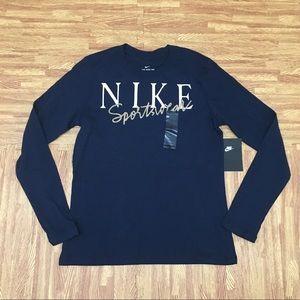Nike Sportswear Navy Gold Metallic Longsleeve FB7